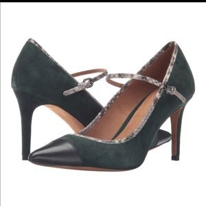 Coach Heels : Snake Skin Leather and Green Suede